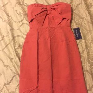 Coral seersucker dress